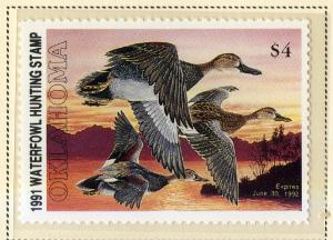 US OK12 OKLAHOMA STATE DUCK STAMP 1991 MNH SCV $7.50 BIN $3.75