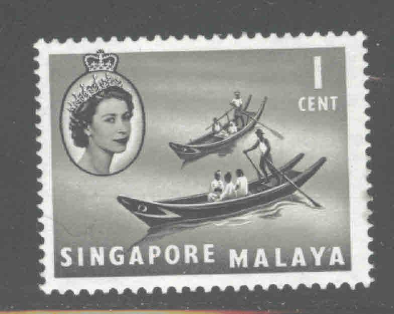 Singapore  Scott 28,MH* from the 1955 water transport set