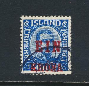 ICELAND 1926, 1k on 40a, VF USED Sc#150 (SEE BELOW )