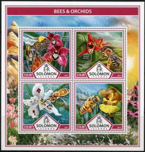 SOLOMON ISLANDS 2017 BEES & ORCHIDS  SHEET MINT NEVER HINGED
