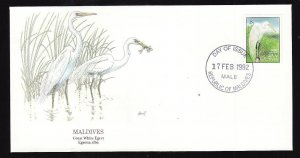 Flora & Fauna of the World #221a-Maldives-Birds-Great White Egret-FDC with  sing