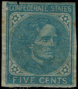 CSA #7 1862 (JULY)  5c BLUE LOCAL PRINT CONFEDERATE STATES ISSUE--MINT-OG/HINGED