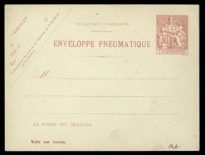 fr012 France Enveloppe Pneumatique 30c Telegraphe Red Unused