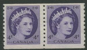 STAMP STATION PERTH Canada #347 QEII Coil Issue1954 MNH Horiz.Pair CV$3.00