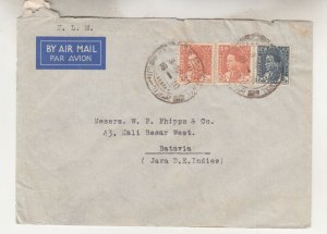 IRAQ, 1937 KLM Airmail cover, Baghdad to Neth. East Indies, 15f., 20f. (2).