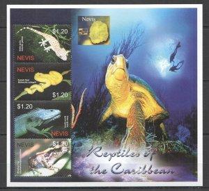 QB1205 NEVIS FAUNA MARINE LIFE REPTILES OF THE CARIBBEAN TURTLES SNAKES 1KB MNH