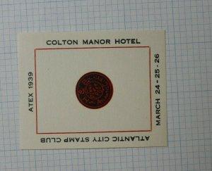 1939 Atex NJ Colton Manor Hotel Philatelic Label Souvenir Ad