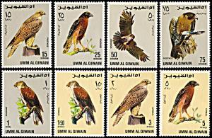 Umm al Qiwain Michel 225 A-232A, MNH, Birds of Prey