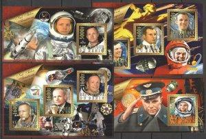 XZ0016+17 2015 BENIN SPACE PIONEERS YURI GAGARIN ARMSTONG APOLLO 11 2KB+2BL MNH