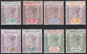 Leeward Is 1890 1/2d-5s QV Key Plate SG 1-8 Scott 1-8 LMM/MLH Cat £190($256)