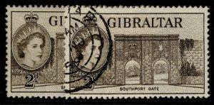 GIBRALTAR QEII SG148 + 148a, 2d SHADE VARIETIES, FINE USED.