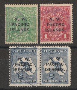 NEW GUINEA - NWPI Postmarks Rabaul New Britain oval pmks. 1915 KGV & Kangaroo