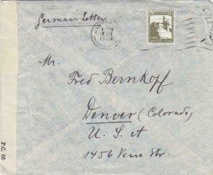 1943, Jerusalem, Palestine to Denver, CO, Palestine Type 8 Censor Tape (C3326)
