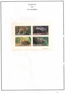 SCOTLAND - STAFFA - 1981 - Animals #2 - Imperf 4v Sheet - M L H