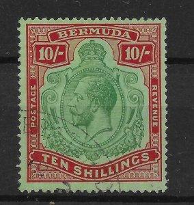BERMUDA SG92b 1924 10/= GREEN & RED ON PALE EMERALD BROKEN CROWN & SCROLL USED