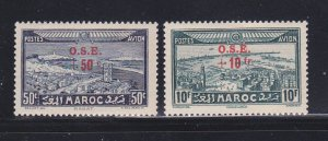 French Morocco CB22-CB23 Set MH Surcharges