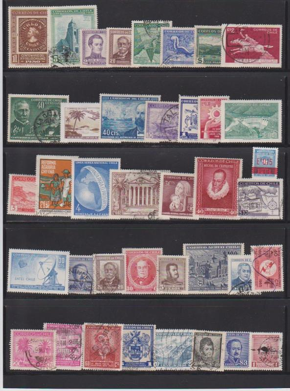 LOT OF DIFFERENT STAMPS OFCHILI USED (39 LOT#133