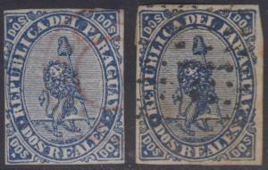 PARAGUAY 1870 LION Sc 2 & 2a BLUE & DARK BLUE FORGERIES USED (CV$300)