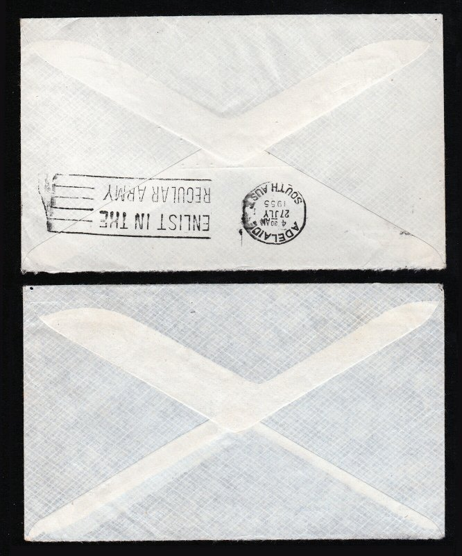 AUSTRALIA 2 COVER LOT - OSBOURNE TO DELAWARE USA - 1955