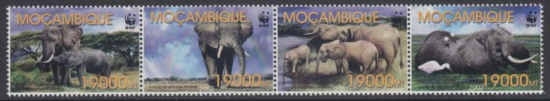 XG-BA781 MOZAMBIQUE IND - Wwf, 2002 Wild Animals Elephant 4 Values Strip MNH Set
