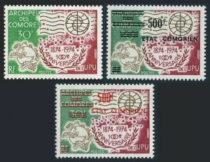Comoro Islands 122,155B black,155R red,MNH. UPU-100,1974.New value surcharged.