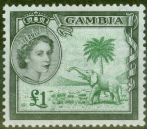Gambia 1953 £1 Green & Black SG185 V.F MNH