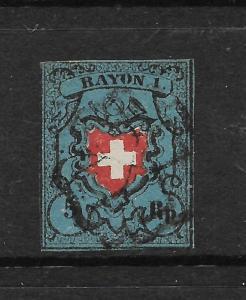 SWITZERLAND 1850 5rp RAYON 1  FU   SG 6