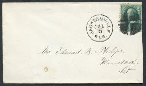US JACKSONVILLE, FL 7/5/18?? 3C MUTE CANCEL COVER TO WINSTED, CT AS SHOWN