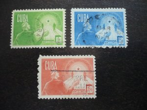 Stamps - Cuba - Scott# 384-386 - Used Set of 3 Stamps