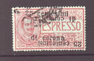 J22596 Jls 1919 error austria italy stamp used #ne2a ,?, double ovpt 1 inverted