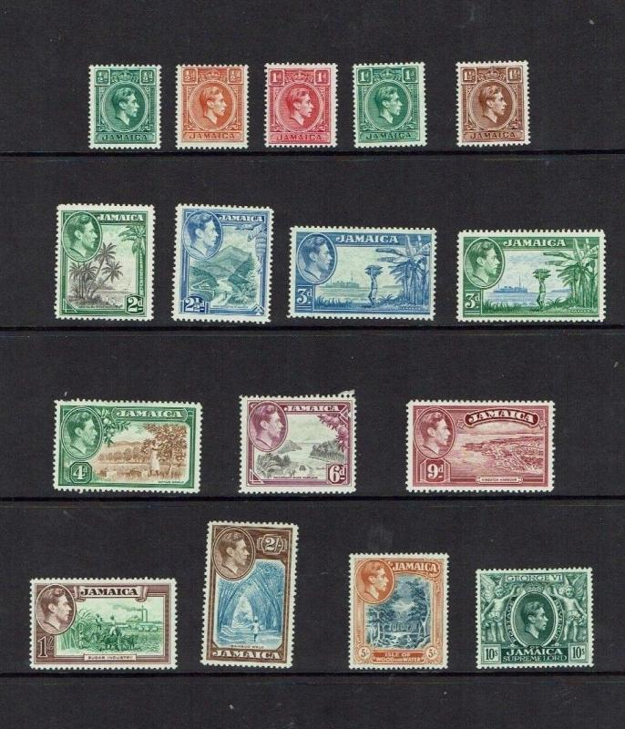 Jamaica: 1938 King George VI Pictorial definitive stamps, Mint set to 10/-