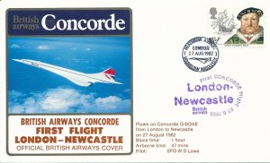 Cover UK Great Britain Concorde 1982 First Flight London Newcastle G-BOAE Lowe