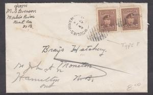 NEW BRUNSWICK SPLIT RING TOWN CANCEL COVER MOULIES RIVER