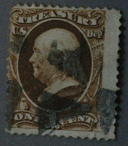 United States #O72 1 Cent Treasury Revenue Used