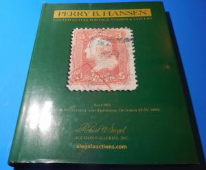 Siegel October '08 Perry Hansen United States Stamps Hard Cover Auction Catalolg