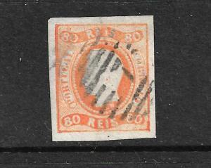 PORTUGAL 1866  80r  KL  IMPERF   FU SG 43