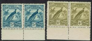 NEW GUINEA 1931 DATED BIRD 3D AND 4D MNH ** PAIRS