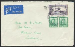 NEW ZEALAND 1939 commercial internal flight cover with 3d air..............55920