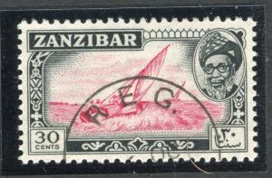 ZANZIBAR;   1957 early Sultan Harub issue fine used 30c. value