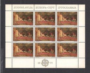 YUGOSLAVIA SC# 1333  MINI SHEET/9  FVF/MNH  1977