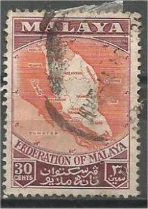 FEDERATION OF MALAYA, 1957, used 30c, Map. Scott 83