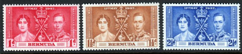 Bermuda KGVI 1937 Coronation Set SG107/SG109 Mint Never Hinged MNH UMM