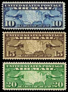 U.S. #C7-9  Airmail Map & Plane Issues of 1929 - OGNH - VF - CV$23.25 (ESP#0797)