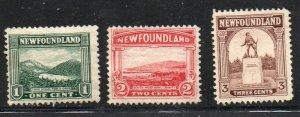 Newfoundland Sc 131-33 1923 views stamps mint