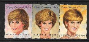 Marshall Islands 1997 Diana, Princess of Wales Scott 645 Strip of 3 NH