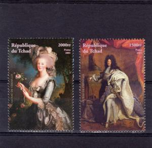 Chad 2001 Marie Antoinette/Louis XIV Set perforated (2) MNH VF