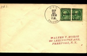 USS FALCON ASR-2 1938 NAVAL COVER with Pr. WASHINGTON HORIZONTAL STAMPS F