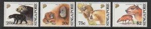 1992 Singapore -Sc 645-48 - 4 singles - MNH VF - Wild Animals