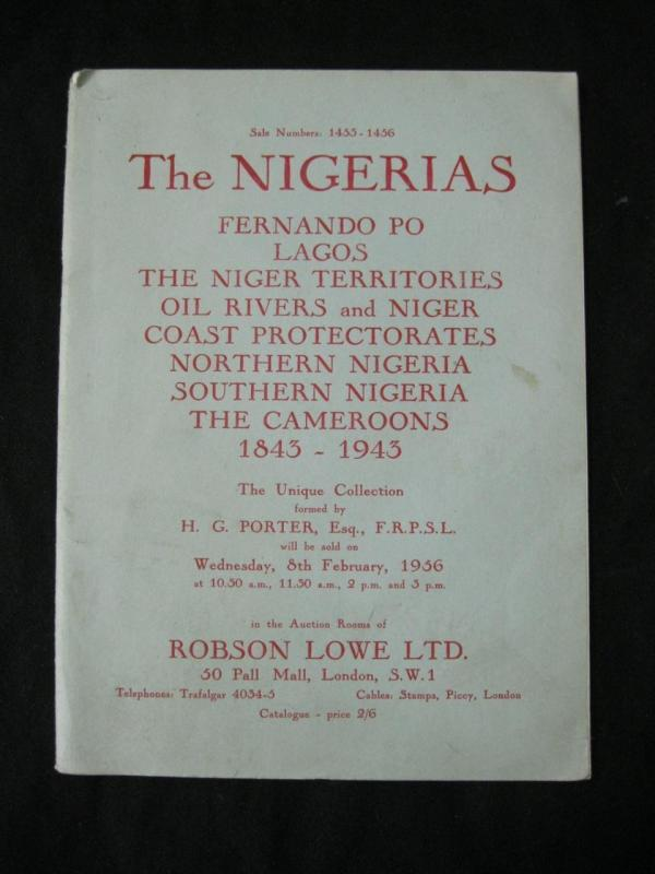 ROBSON LOWE AUCTION CATALOGUE 1956 THE NIGERIAS 'PORTER' COLLECTION