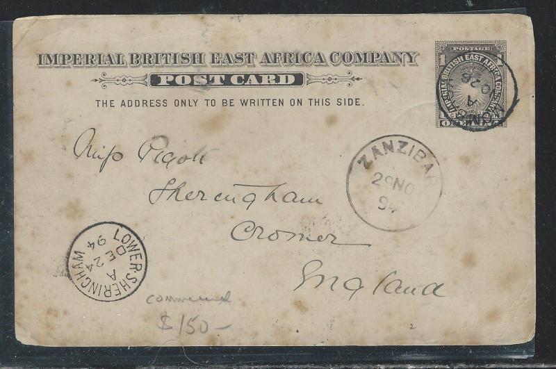 BRITISH EAST AFRICA (3009B) 1/2A SUN PSC SENT 1894 MOMBASA VIA ZANZIBAR TO ENGLA